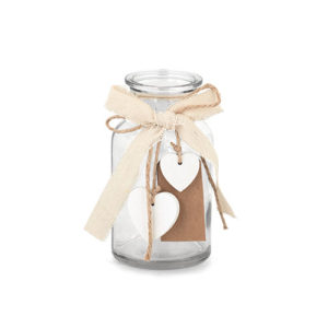 Vasetto di vetro con cuori in legno con tag