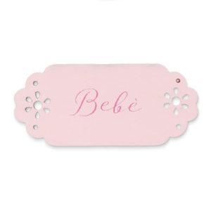 Tag in legno bebè rosa