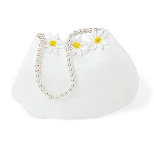 Borsetta bianca con margherite e perle
