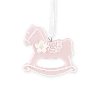 Cavallo a dondolo rosa da appendere