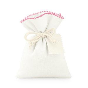 Sacchetto cotone con bordo rosa