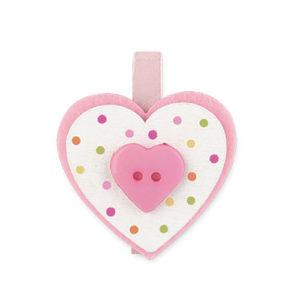 Set 12 mollette con cuore pois rosa