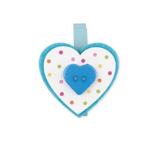 Set 12 mollette con cuore pois azzurro