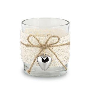Bicchiere piccolo vetro tea light pizzo