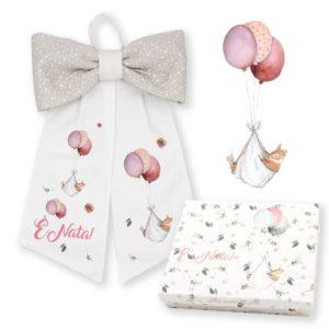 Fiocco nascita cotone rosa con scatola