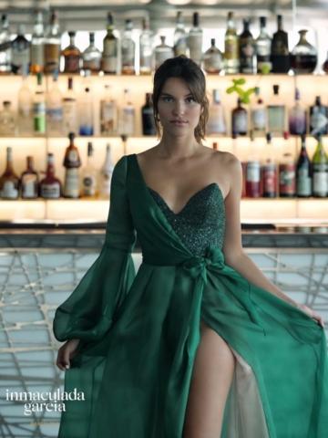 abito verde in seta pura da cerimonia